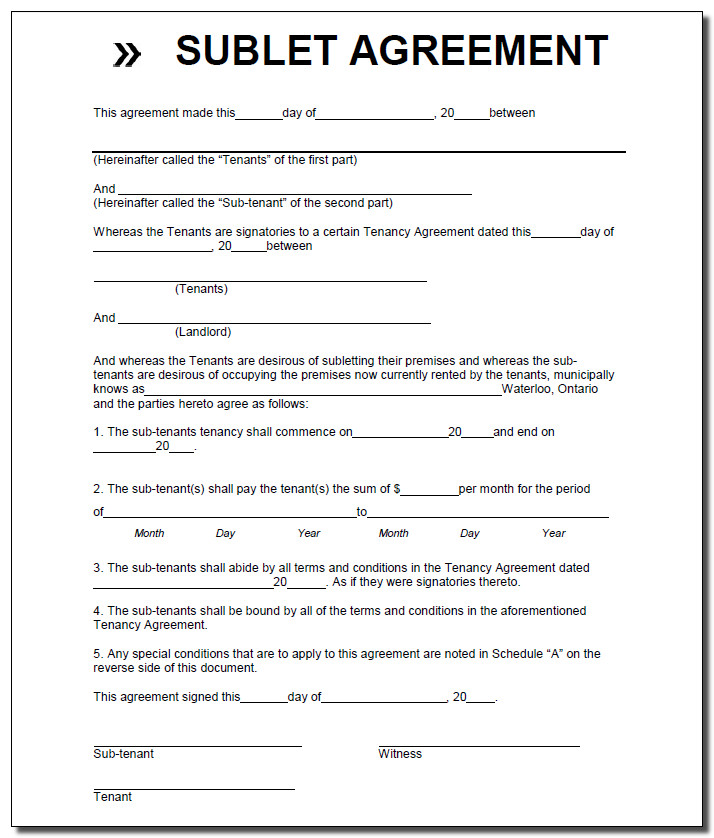 subletting lease agreement template - sublet lease form ontario sublease agreement commercial